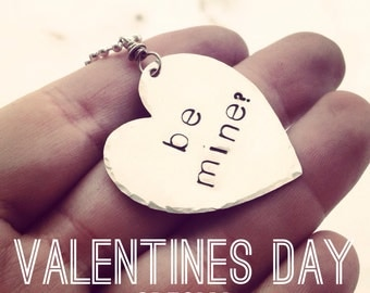 "Hand stamped Valentines day heart necklace ""be mine"""