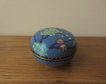 Chinese round brass enamel lidded box.    Chinoisserie brass box.