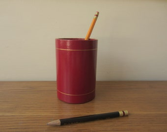 Vintage red pencil holder.  Vintage desk accessory.