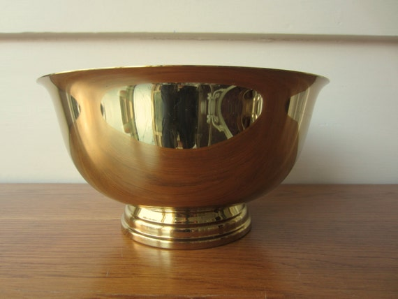 9 inch brass bowl brass home decor paul revere by for Brass home decor
