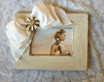 Photo Frame Bow Jewel BoHo Personalize Rustic Country Beach Wedding Bride Bling