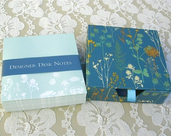 Designer Desk Notes in Floral Box, reusable gift/keepsake box