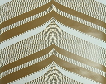 Retro Wallpaper by the Yard 70s Vintage Wallpaper - 1970s Vinyl Brown and White Tribal Chevron Waves