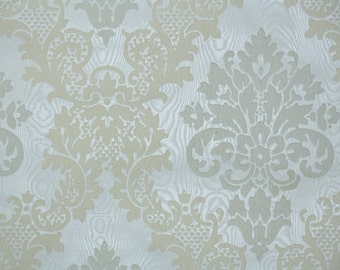 Retro Flock Wallpaper by the Yard 70s Vintage Flock Wallpaper - 1970s Cream and White Flock Damask