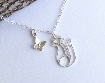 Sterling Silver Springtime Fox Necklace...  Fox and Butterfly Charms