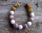 Marble,quartz,misc stone beaded bracelet 71/2 inch