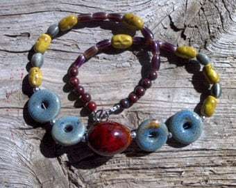 Ceramic and glass beaded necklace 24 inch