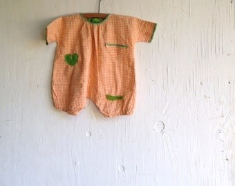 funky baby apricot kiwi orange gingham green shabby prairie decor cottage vintage ric rac baby decor nursery chic rustic  romper onesie