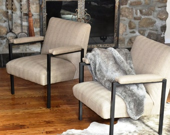 Set of two vintage mid century modern accent chairs, Industrial look with iron legs, fully restored