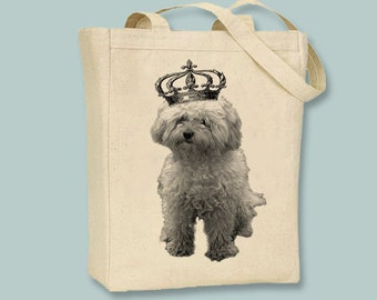 Royal Bichon Frise Dog Canvas Tote -- Selection of  sizes available