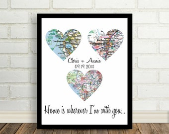 Home is Wherever I'm With You Heart Map Art Print Unique Wedding Gift Unique Engagement Gift Any Location Worldwide Mothers Day Gift