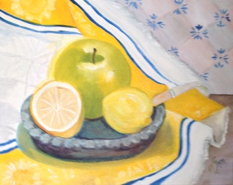 Original Still Life Painting - Apple and Lemon