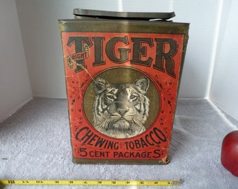Vintage General Store Canister, Tiger (Bright) Chewing Tobacco 1/3 Gross, 5 Cent Packages, Early 20th Century