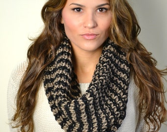 19.00 Honeycomb Mocha Chunky Knitted Infinity Loop Circle Scarf, Snood, Cowl, Women's Knitted Scarves