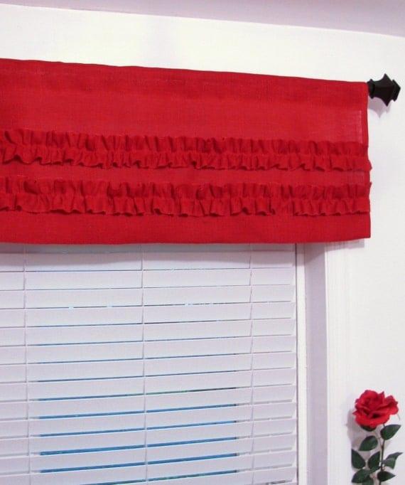 RED BURLAP Ruffled Curtain Valance Custom Sizing Available!