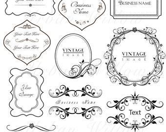 ORNAMENTAL VINTAGE FRAMES Pack 14 - Digital vintage style designs.