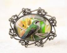 Hummingbird Jewelry Broach - Humming Bird Brooch, Bronze Bird Jewelry, Bronze Bird Broach, Green Hummingbird Brooch, Hummingbird Gift