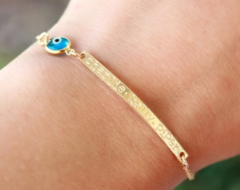 Personalized Gold Bar Bracelet, Skinny Nameplate bracelet -Name Plate Bracelet, Engraved Bracelet, Personalized Gold Letter Initial Bracelet