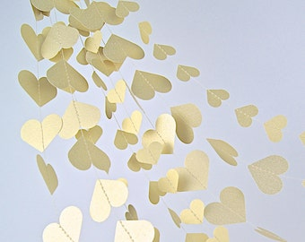 Gold Hearts Paper Garland,  20 Colors to Choose