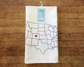 Flour Sack Towel - Tea Towel - Hand Screen Printed - 100% Cotton - Personalized Gift - Home State Pride - Home State Decor - Customizble