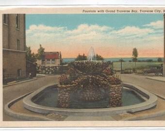 "Michigan, Vintage Postcard, ""Fountain with Grand Traverse Bay, Traverse City, Michigan,""  1950s,  #351-2."