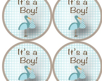 """63 """"It's a Boy"""" Envelope Stickers in baby blue and brown - Celebrate your new baby boy with these cute new stickers"""