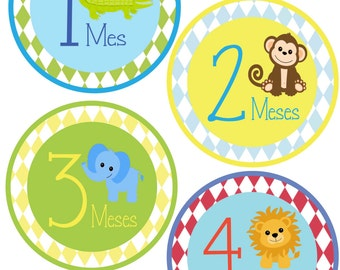 Spanish - Monthly Bodysuit Stickers - Jungle Animals - For a baby girl or boy 1-12 months -  Perfect Gift for Mom to Be