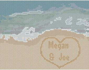 Beach Wedding Cross Stitch Pattern, Destination Wedding Cross Stitch Pattern, Island Wedding Cross Stitch Pattern
