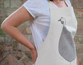 SALE Hand Printed Guinea Fowl Apron