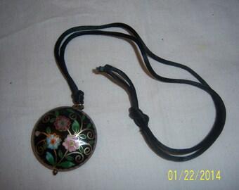 Enamel Cloisonne Pendant on Black Cotton Cord -  Vintage Cloisonne -  Round Enamel Pendant