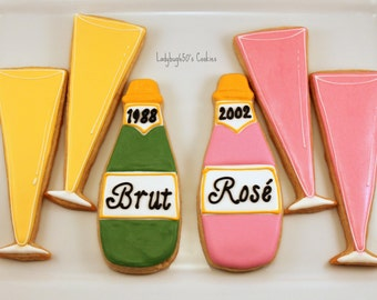 12 Champagne bottle and champagne glass cookies, handmade & iced