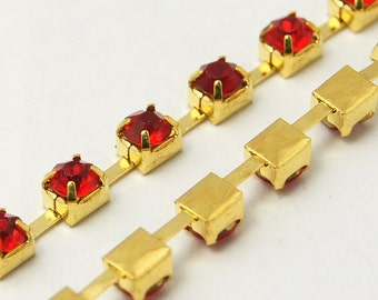 1 yard ( 3 feet ) Rhinestone Cup Chain, 3mm, gold brass base metal and RED glass crystals fch0159