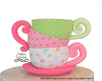 Diaper Cake Teacups, Baby Beanie Teacups, WashAgami ™. Pattern and Instructional Video (New HD quality video)