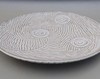 White Pottery Serving Platter - Large Ceramic Platter - Large Glazed Hand Carved Terracotta