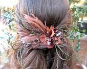 Wedding headpiece Brown Feather unique barrette