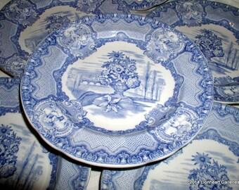 "Six Vintage Copeland Spode Blue & White English Transferware 9"" Luncheon Plates Seasons Pattern"