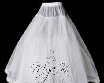 Bridal Prom hoopless 3 layer ball gown a-line underskirt Slip skirt WHITE