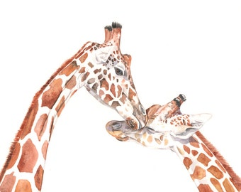 Giraffes watercolor painting - Print of watercolor painting 5 by 7 print