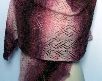 On sale. Women's hand knitted lacy pink sparkly shawl / wrap. Self patterning.