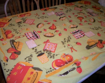 Large all cotton sixties tablecloth kitschy kitchen motif