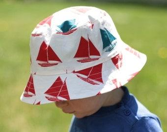 organic boy's bucket hat, set sail, reversible, 3 sizes (LAST ONE)