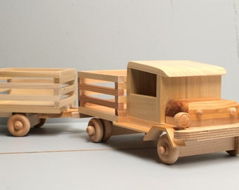 """Reclaimed Wood """"Very Tuff"""" FARM Truck and trailer Eco-friendly Wooden Toy Car for Children Organic Natural Unpainted Metal-Free"""