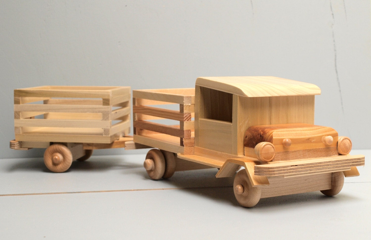 Wooden Toy Cars And Trucks : Reclaimed wood very tuff farm truck and trailer