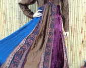 Vintage Phool India Gypsys Velvet Patchwork  Dress BOHO Festival Multi Color Size Small
