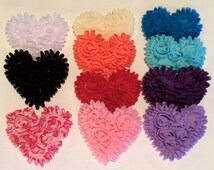 """Chiffon Hearts 6 pcs  - 3"""" Shabby Hearts Rosette Heart Applique Valentines Day Hearts Fabric Hearts you pick colors - choose 6 pieces"""