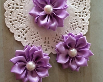 """Lavender Fabric Flowers (6 pcs ) - 1.5"""" Satin flowers with pearl centers Light Purple Sweetheart accent flowers embellishment headband DIY"""