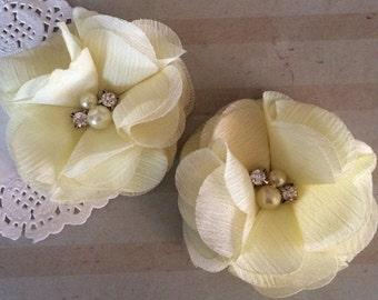 "Chiffon Flowers PALE YELLOW with rhinestones & pearl centers (4 pcs) Whitney shabby chiffon layered flowers 2.5"" Hair shoe headband"