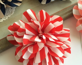 Set of 2  Vintage Red Stripe flower  - 4.5'' large silk Red & White stripe fabric flower - flat back Dahlia - headband flowers wholesale