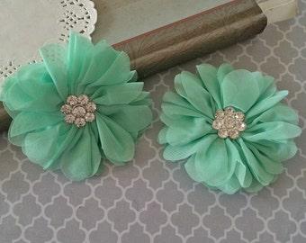 "3""  Mint Chiffon Ballerina Flowers with Rhinestone Center Light Green Scalloped edges Hallie flowers DIY wedding bridesmaids baby headband"