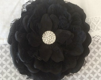 "Vintage Black Lace Peony Flower - Alyssa Collection - Large 5"" Black Layered Lace & Fabric flower with cluster rhinestone gem center"